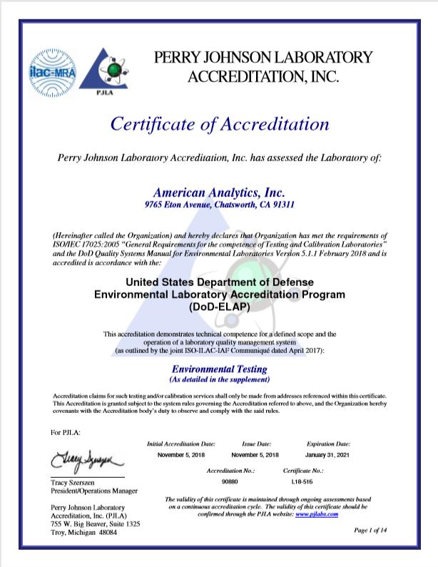 American Analytics DOD-ELAP Certification