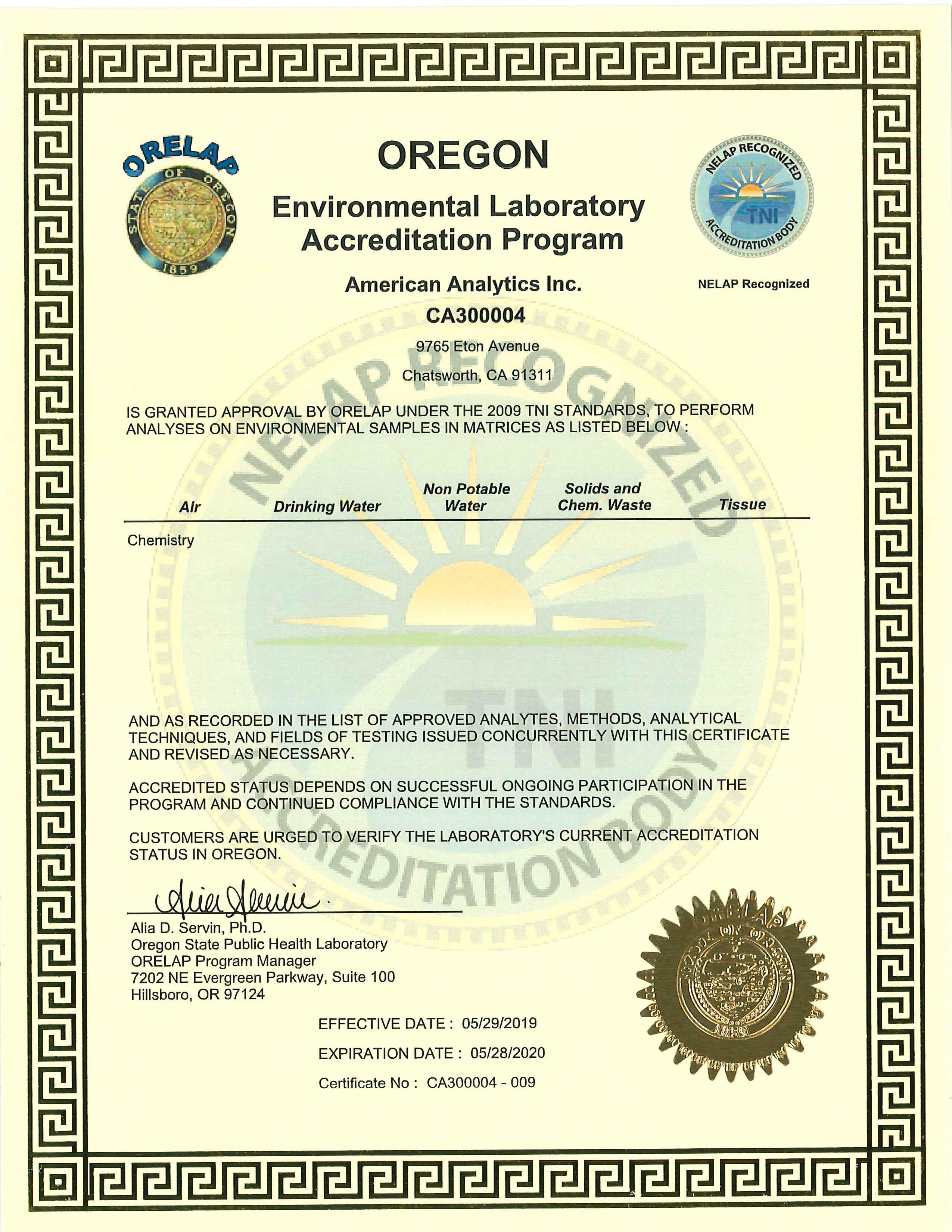 American Analytics NELAC certification