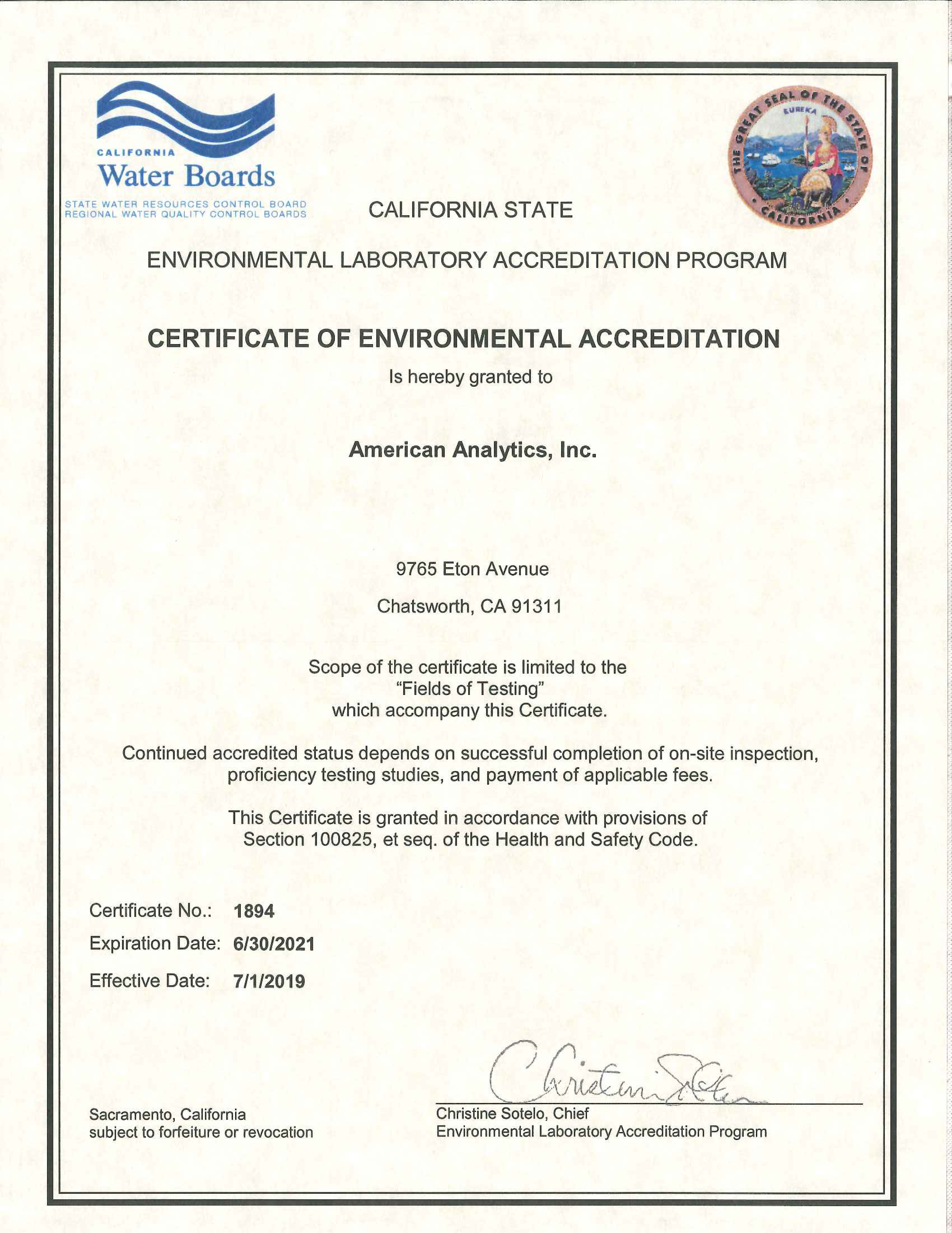 American Analytics mobile lab certification